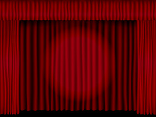Beautiful black theatre stage vector with red folded curtain drapes lit with a spotlight.