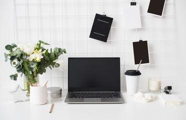 Stylish white professional office interior, minimalist loft workspace