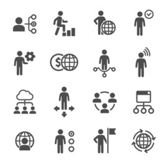 Business and people icons set