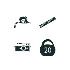 tape icon set. tape measurer icon and weight icon vector icons.