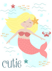 Vector image of a cutie little mermaid with blonde hair with a starfish and a crab under water. Marine hand-drawn illustration for girl, birthday, holiday, summer party, greeting card, print, clothes