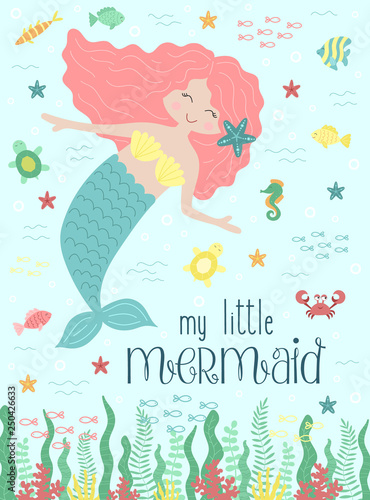 Vector Image Of A Cute Mermaid And Sea Creatures Underwater Nautical Hand Drawn Illustration