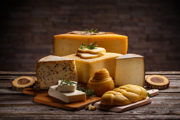 Set of various cheeses