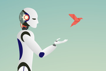 Minimalist stile. vector of robot releasing a red paper bird for freedom concept