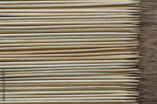 Pile Of Wooden Sticks Or Bamboo Skewers Used To Hold Pieces Of Food