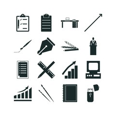 pen icon set. clipboard icon business and arrow design vector icons.