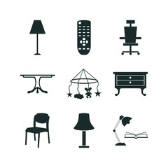 9 furniture icon set