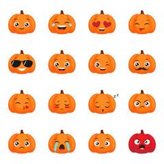 Set of funny pumpkin emoticons for autumn design