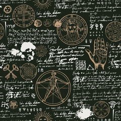 Vector seamless background on the theme of mysticism, magic, religion and the occultism with various esoteric and masonic symbols. Medieval manuscript with sketches, blots and spots in retro style
