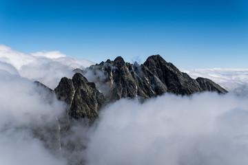 Lomnický štít. Tatra Mountains. Inversion