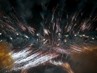 The London New year fireworks display captured from the central Barge on the River Thames