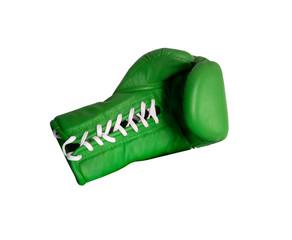 Fototapeta Green boxing glove on a white background close up obraz
