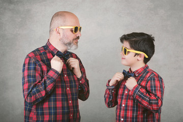 Father's day,father and son with tie and sunglasses