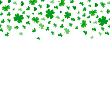 Saint Patrick's Day Border with Green Four and Tree Leaf Clovers