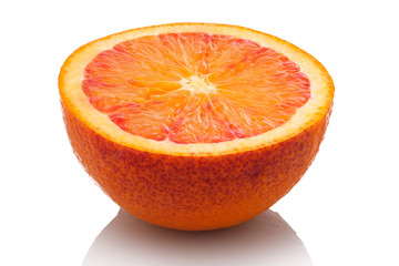 Halbe Sanguine Blutorange Orange aufgeschnitten