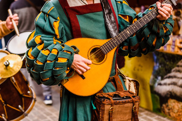 Medieval troubadour playing an antique guitar. Wall mural