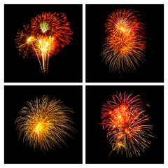 Colorful firework on black background.