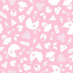 Muster Baby Icons Mädchen Pink/Weiß