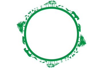 Círculo verde con ecosistemas, plantas y animales.