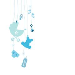 Links Hängende Baby Icons Junge Blau