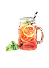 watercolor herbal tea with lemon