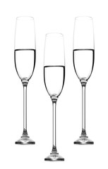 Champagne glasses whith water isolated