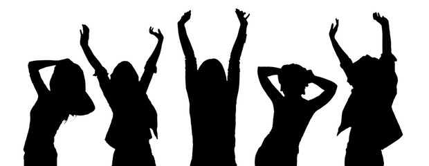 silhouettes of party people dancing isolated on white