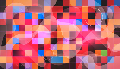 Abstract mosaic background with wave elements. chaos on square tiles. colorful colors. pink, purple, blue
