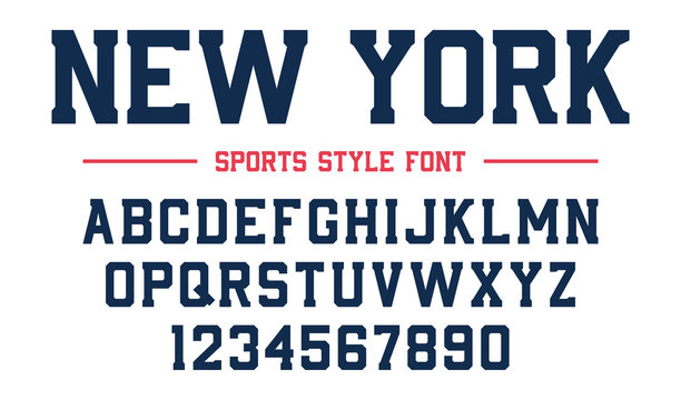 Classic college font. Vintage sport serif font in american style for football, soccer, baseball and basketball. Alphabet and numbers in varsity style