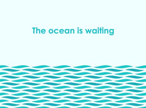 Ocean sea waves illustration.