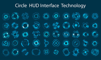 Vector icon set technology circle design. Wall mural