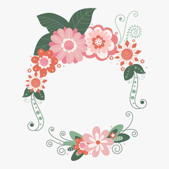 vector floral frame with flowers, hand drawn template