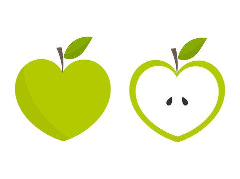 Green heart shaped apples