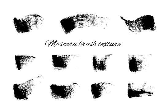 Mascara brush stroke texture set. Dry black brush texture