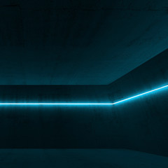 3 d interior with blue neon light line