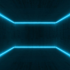3d room, bright blue neon light lines