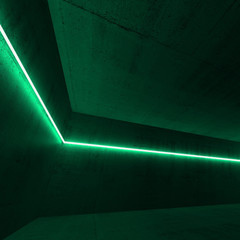 3d interior with green neon light line