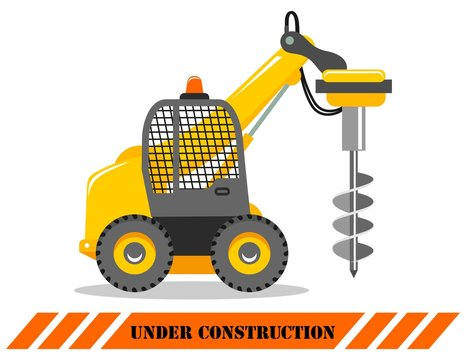 Drilling truck. Detailed illustration of heavy construction machines and equipment. Vector illustration.