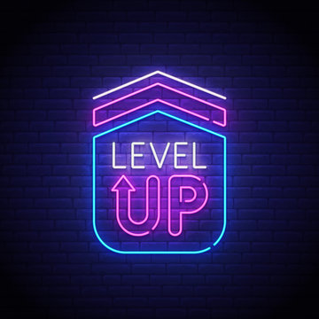 Game popup. Level up neon sign, bright signboard, light banner. Game logo neon, emblem. Vector illustration