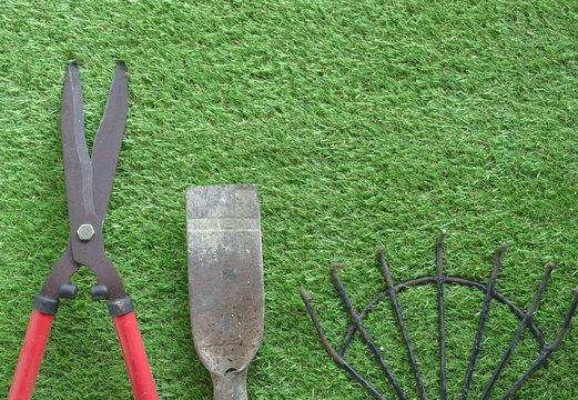 Large grass cutting shears, red handle, steel rake, digging shovel, lawn background Arranged in order