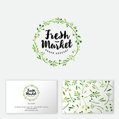 Fresh market logo. Hand-drawn herbs and spices like wreath. Seamless pattern. Business card.