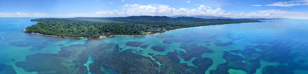 Caribbean sea and coast from drone Wall mural