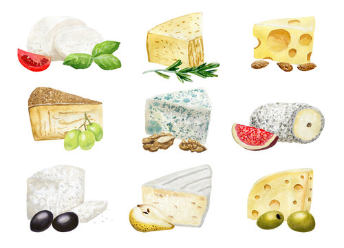 Watercolor cheese compositions with addings