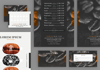 Menu and Gift Card Layout Set with Coffee Bean Elements