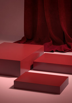 Cosmetic background for product  presentation. Red podium on pink floor with burgundy curtain scene.  Mid century minimal product stage. Fashion magazine illustration. 3d render illustration.
