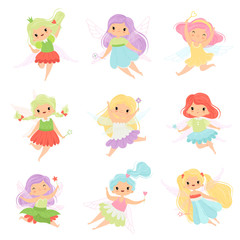 Cute Little Fairies in Colorful Dresses set, Beautiful Winged Flying Girls Vector Illustration