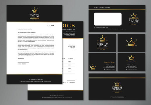 Business Branding Layout Set with Gold Crown Elements