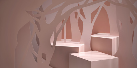 Cosmetic background for product  presentation. Cream color podium with silhouette of tree paper-cut. Modern minimal product stage. Fashion magazine illustration. 3d render illustration. Fototapete