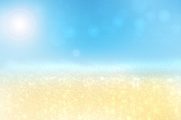 Abstract beach background. Abstract bright tropical sand beach with sun and blue sky and waves on ocean. Backdrop for summer holidays and travel advertising.