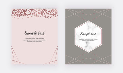 Marble design cards with rose gold geometric polygonal lines, confetti. Trendy templates for banner, flyer, poster, save the date, greeting